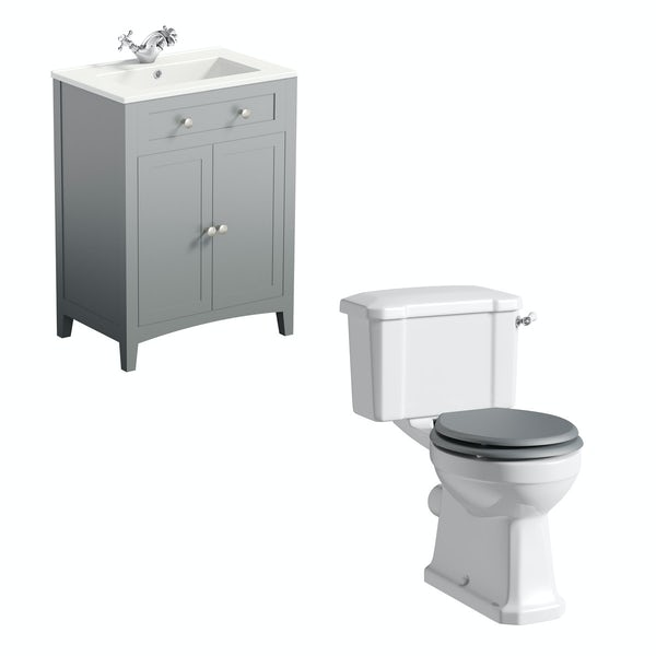 The Bath Co. Camberley close coupled toilet and satin grey vanity unit suite 600mm