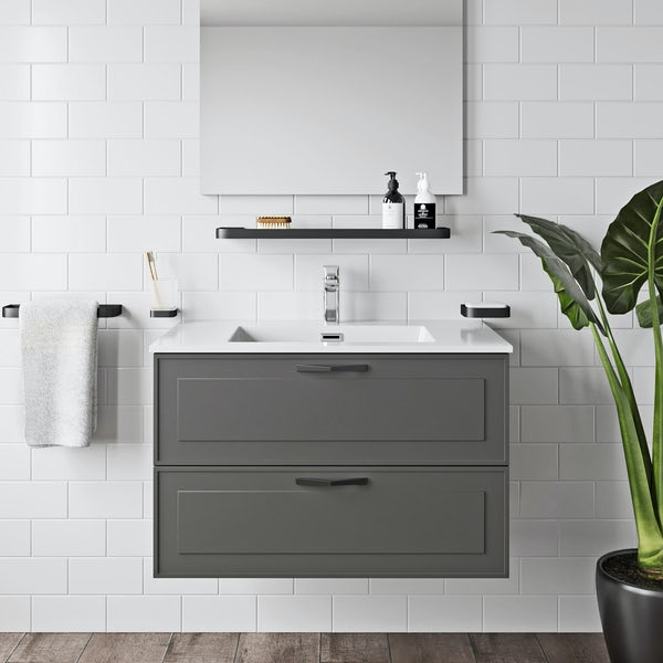 Mode Meier grey wall hung vanity unit and basin 900mm