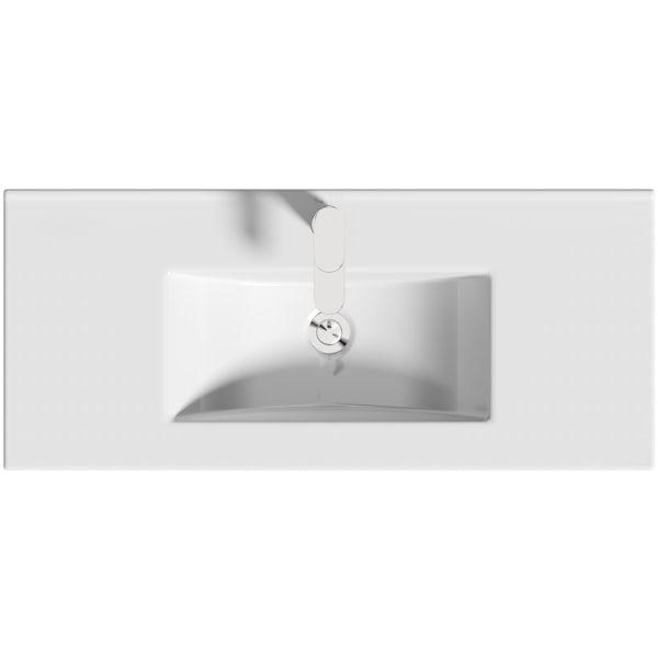 Orchard Thames satin grey floorstanding vanity unit and ceramic basin 915mm