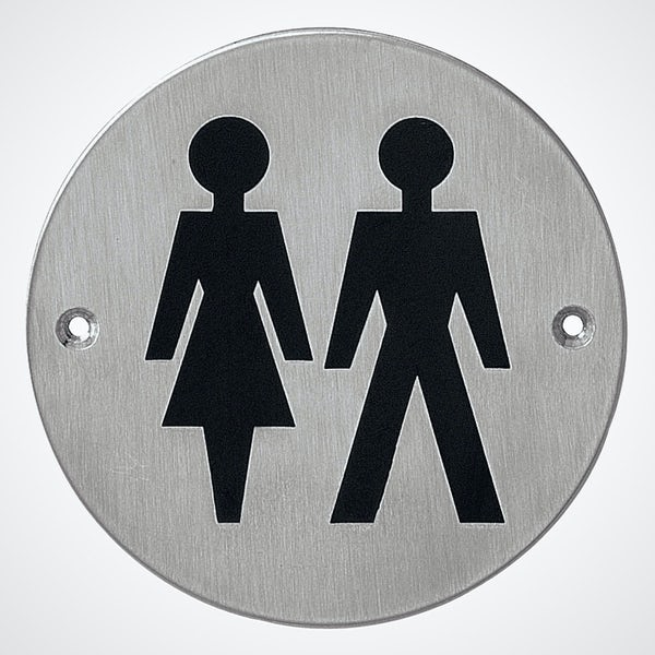 Dolphin pictograph unisex toilet sign