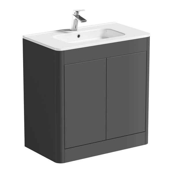Mode Carter slate gloss grey floorstanding vanity unit and ceramic basin 800mm
