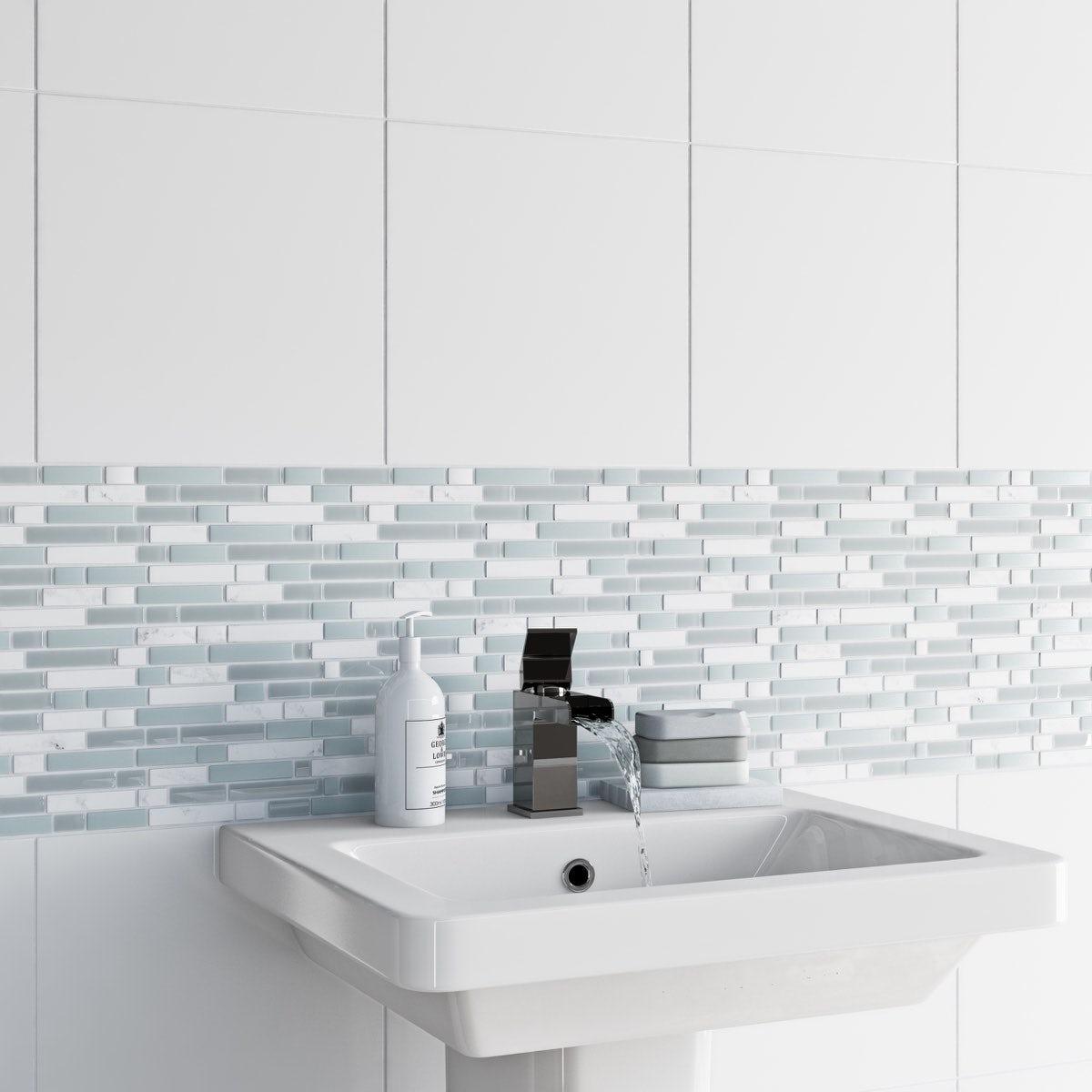 Heated Bathroom Tile: British Ceramic Tile Mosaic Ice White Gloss Tile 305mm X