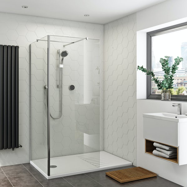 Orchard 8mm walk in corner glass panel and walk in shower tray pack