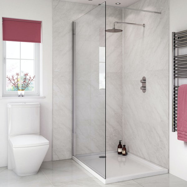 Splashpanel Milano Grey easy fit 2 sided shower wall panel kit