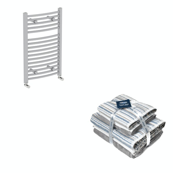 Orchard Elsdon stone grey heated towel rail 750x450 with Silentnight Zero twist grey 4 piece towel bale