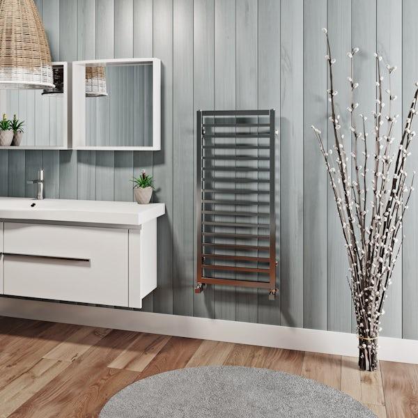Mode Burton chrome heated towel rail 1000 x 450