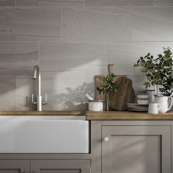 Cavalla light grey stone effect flat matt wall and floor tile 300mm x 600mm