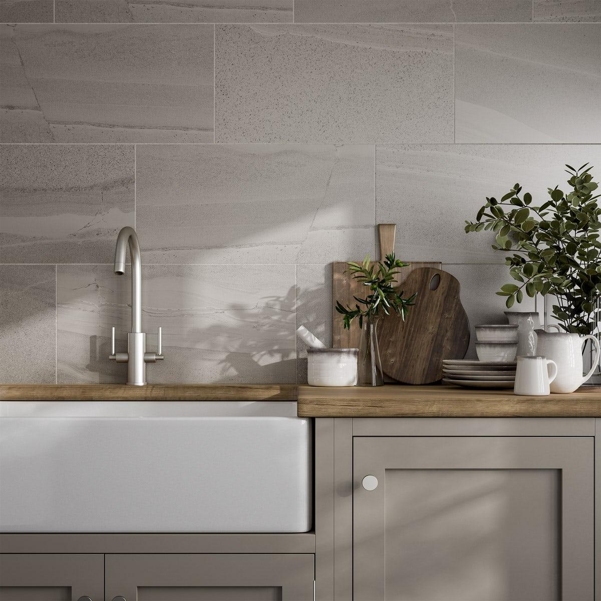 Cavalla Light Grey Stone Effect Flat