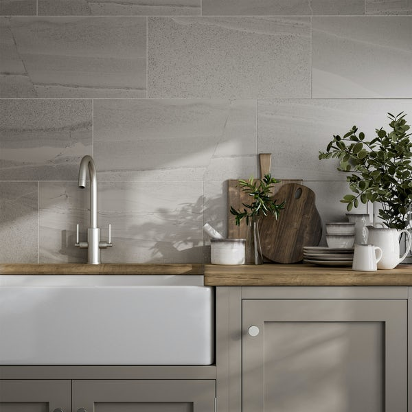 Cavalla light grey stone effect flat matt wall and floor tile 300mm x 600mm