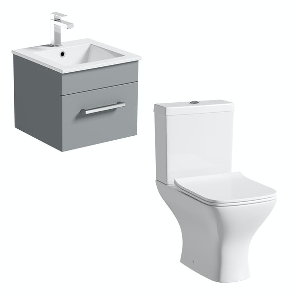 Orchard Derwent stone grey cloakroom suite with square close coupled toilet