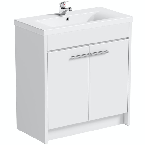 Clarity white vanity unit with basin 760mm