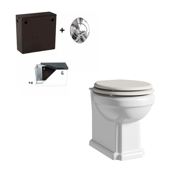 The Bath Co. Dulwich back to wall toilet with ivory wooden seat and concealed cistern