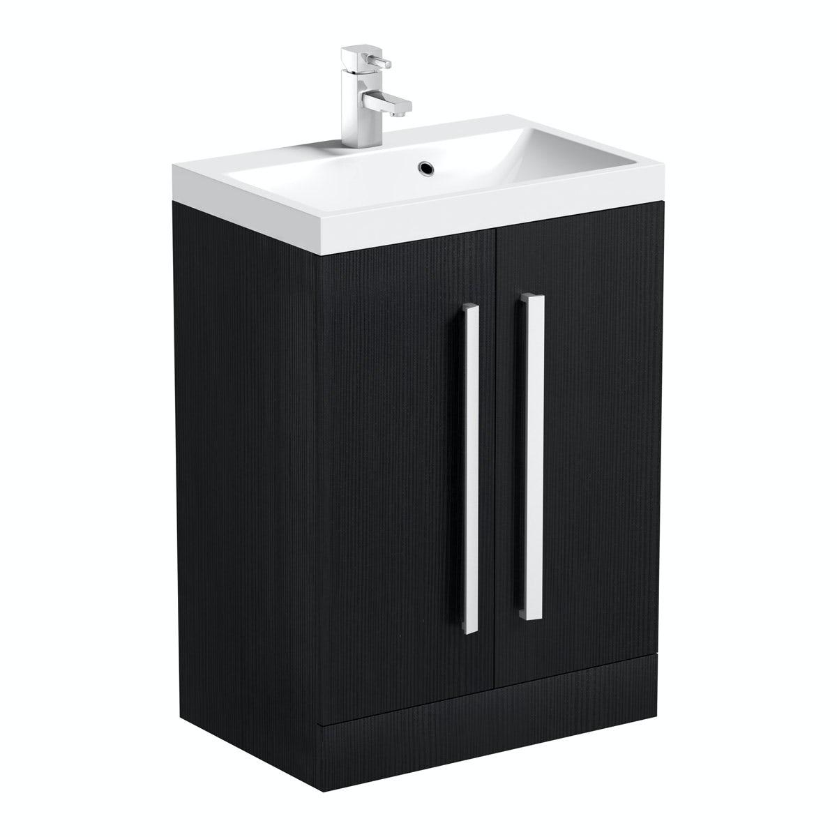 Orchard Wye essen black floorstanding vanity unit and basin 600mm