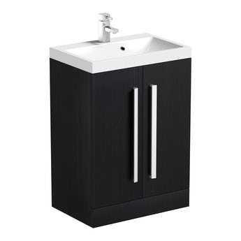 Orchard Wye essen black floorstanding vanity unit and basin 600mm