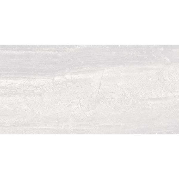 Beau white lappato semi polished stone effect matt wall and floor tile 300mm x 600mm