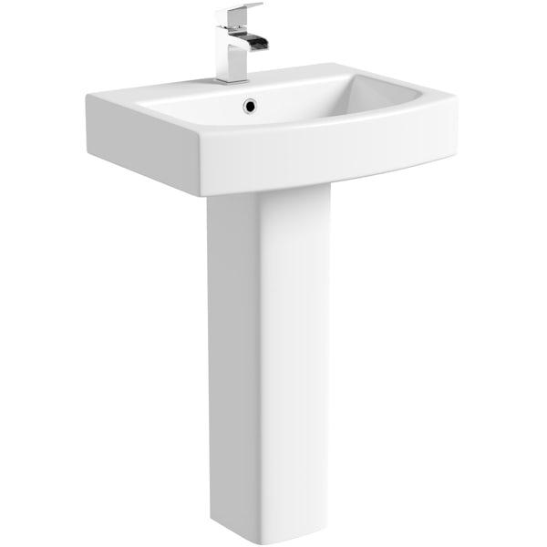 Orchard Wye 1 tap hole full pedestal basin 555mm
