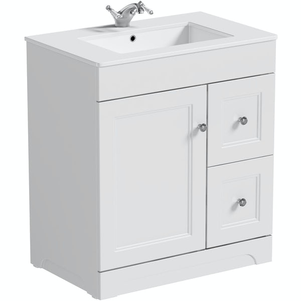 Winchester White Vanity Unit And Basin 760mm