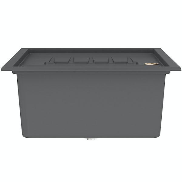 Bristan Gallery quartz left handed midnight grey easyfit 1.5 bowl kitchen sink with Melba black tap