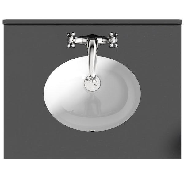 The Bath Co. Burghley matt white floorstanding vanity unit and black marble basin 650mm