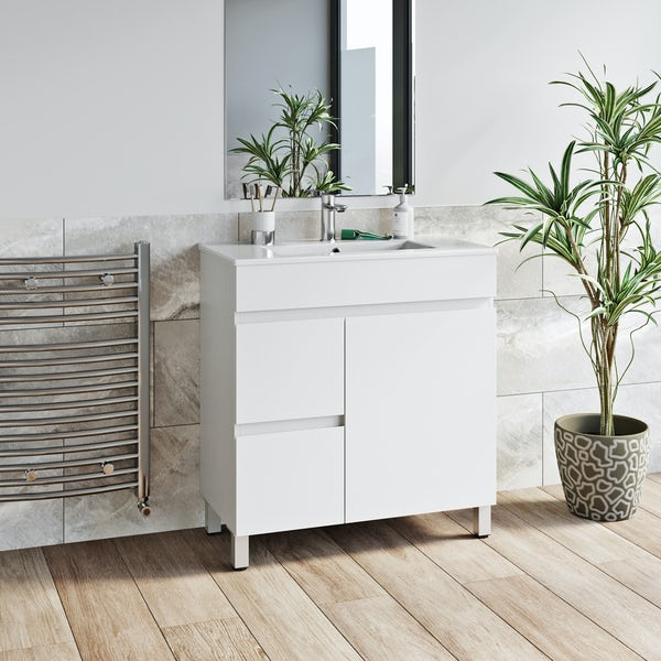Orchard Thames white floorstanding vanity unit and ceramic basin 760mm