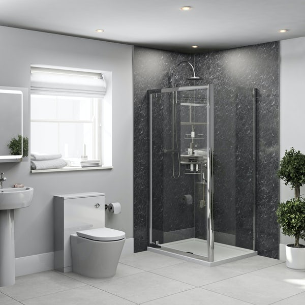 Orchard Black Marble shower wall panel corner installation pack 1000 x 1000