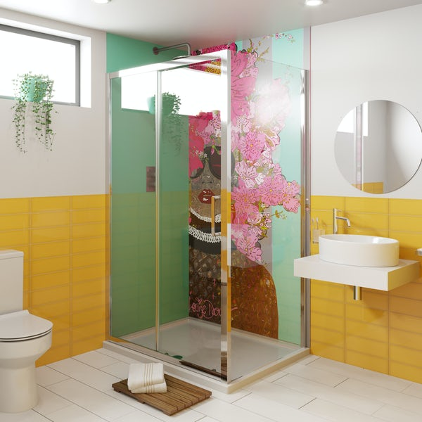 Louise Dear Kiss Kiss Bam Bam Green acrylic shower wall panel pack with rectangular enclosure