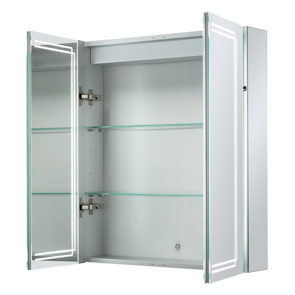 Mode Buxton diffused LED illuminated mirror cabinet 700 x 600mm with demister & charging socket