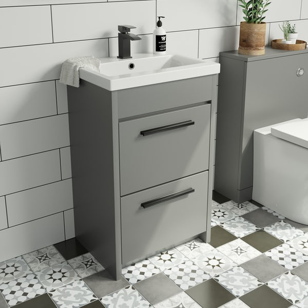 Clarity satin grey floorstanding vanity unit and ceramic basin 510mm with tap and black handles