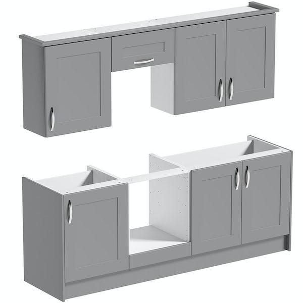 Schon New England light grey shaker kitchen base and wall unit bundle