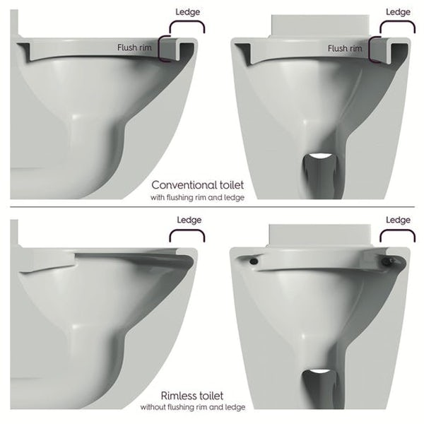Mode Tate rimless wall hung toilet with soft close seat and wall mounting frame