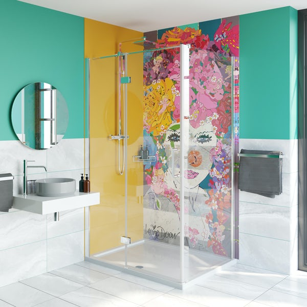 Louise Dear The Serenade Yellow acrylic shower wall panel pack with hinged rectangular enclosure