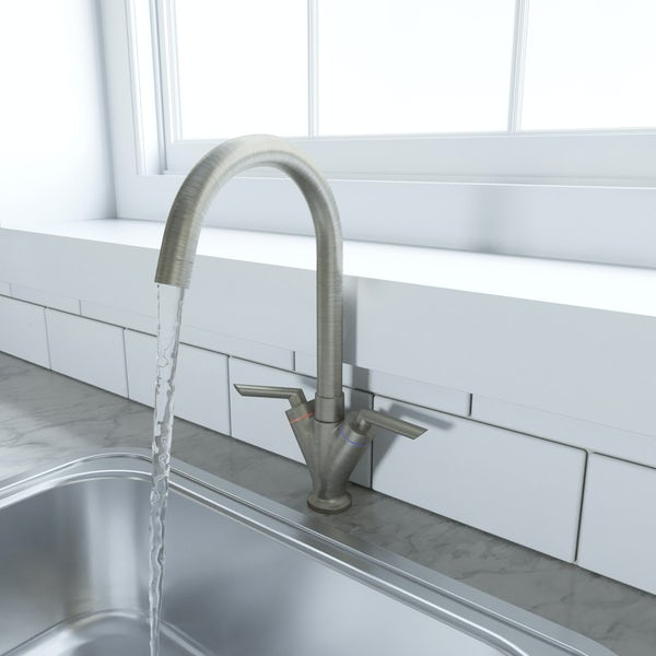 Schön brushed nickel lever handle kitchen tap