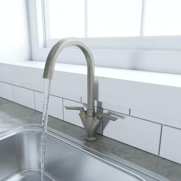 Schön brushed nickel lever handle kitchen tap