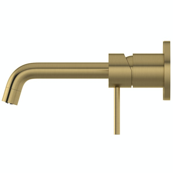 Mode Spencer round brushed brass wall mounted basin mixer tap