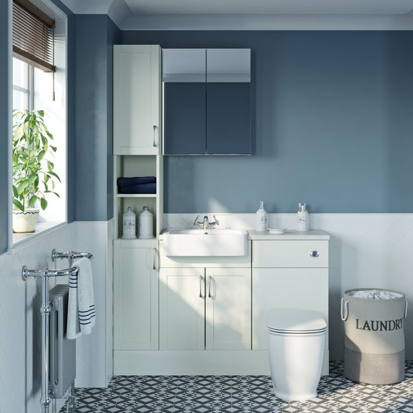 The Bath Co. Newbury white tall fitted furniture & mirror combination with white worktop