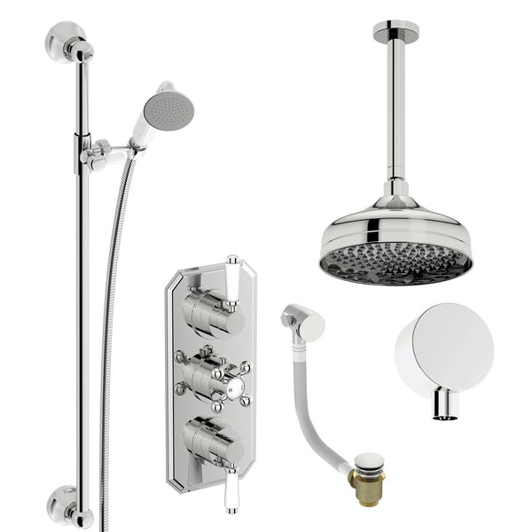 The Bath Co. Camberley concealed thermostatic mixer shower with ceiling arm, slider rail and bath filler