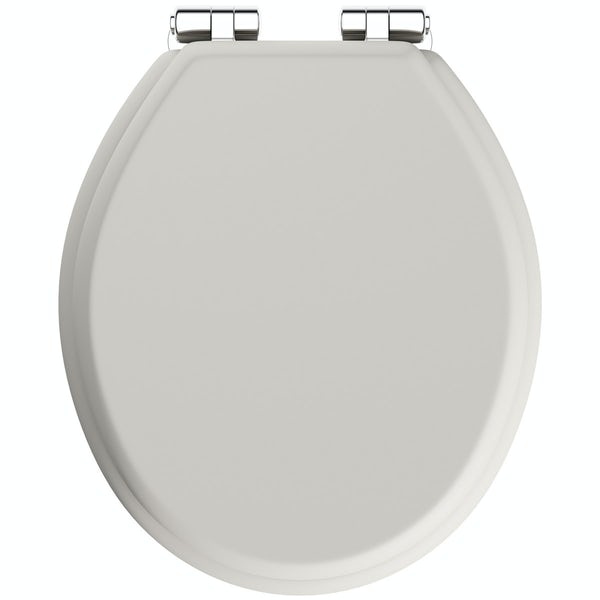 The Bath Co. traditional Dulwich stone ivory engineered wood toilet seat with top fixing soft close hinge