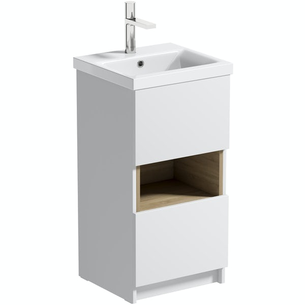 Mode Tate II white & oak cloakroom floorstanding vanity unit and ceramic basin 420mm