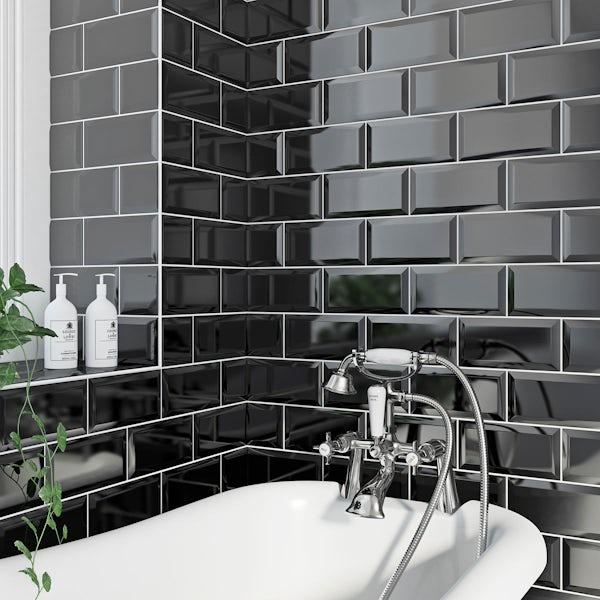 British Ceramic Tile Metro Bevel Black Gloss Tile 100mm X