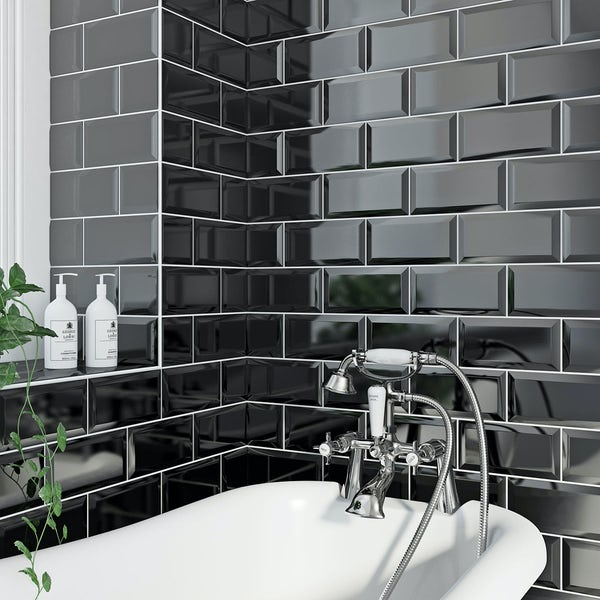 British Ceramic Tile Metro Bevel Black Gloss Tile 100mm X
