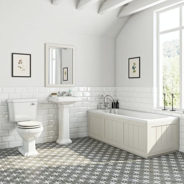 The Bath Co. Dulwich stone ivory bathroom suite with straight bath 1700 x 700mm