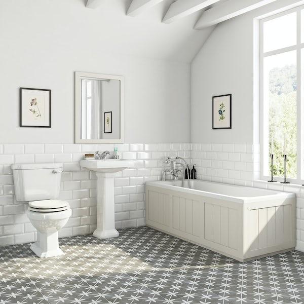 The Bath Co. Dulwich stone ivory bathroom suite with straight bath 1700 x 700mm