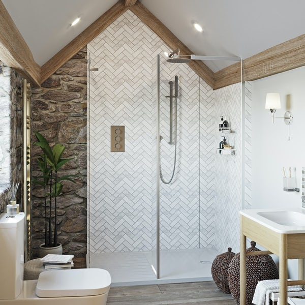 Showerwall Custom Herringbone acrylic shower wall panel