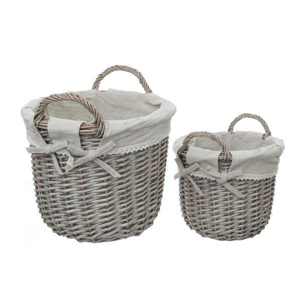 Accents Set of 2 grey willow baskets with handles