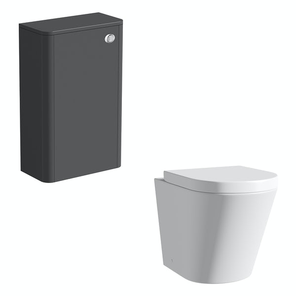 Mode Carter slate back to wall unit and contemporary toilet with soft close seat