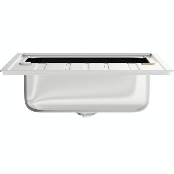 Bristan Index easyfit universal kitchen sink 1.0 bowl stainless steel