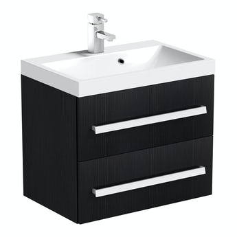 Orchard Wye essen black wall hung vanity unit and basin 600mm