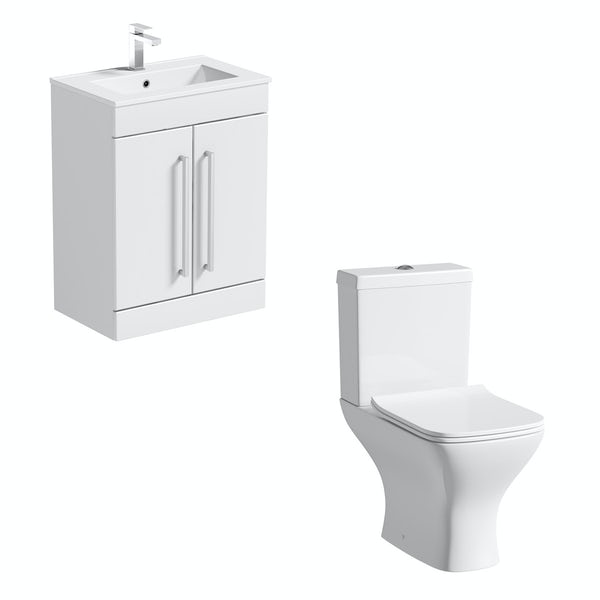 Orchard Derwent square compact close coupled toilet and white vanity unit suite 600mm