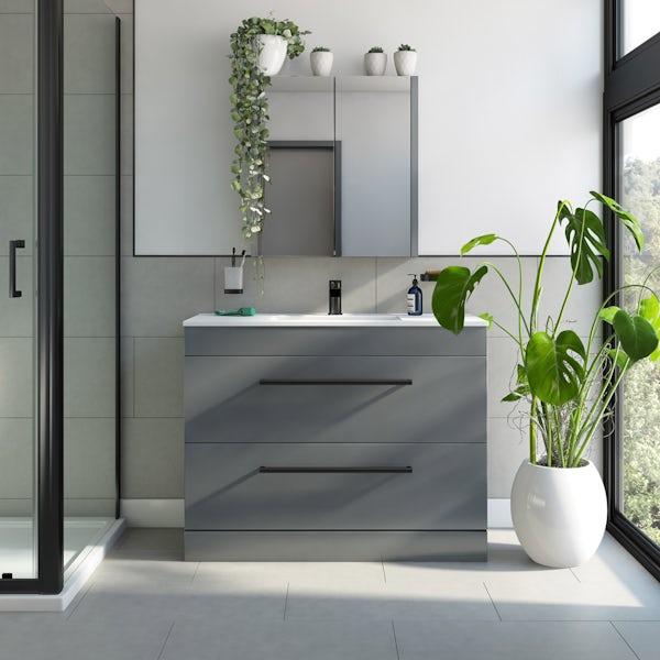 Orchard Derwent stone grey floorstanding vanity unit with black handle and ceramic basin 1000mm