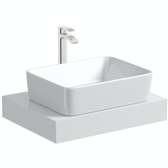 Mode Orion white countertop shelf 600mm with Ellis countertop basin, tap and waste